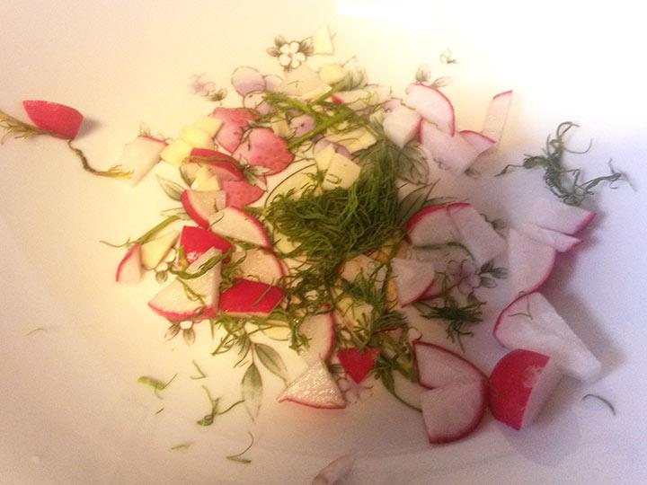 Grovpolse-med-kesamdipp-og-ferske-gronnsaker-dill-reddik-hvitlok
